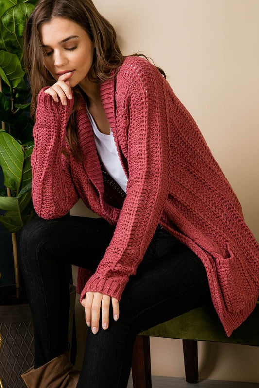 Cozy Rosy Knit Sweater Cardigan