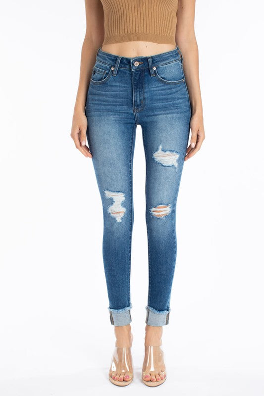 Kan Can High Rise Hem Detail Ankle Skinny