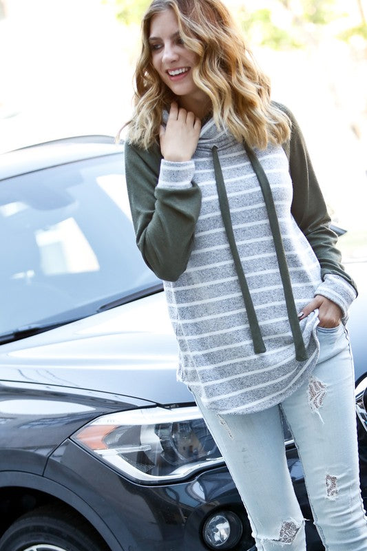 Stripe It Up Mock Neck Raglan Top