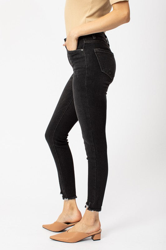 Kan Can High Rise Detail Hem Ankle Skinny