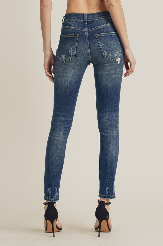 Risen High Waist Distressed Skinny