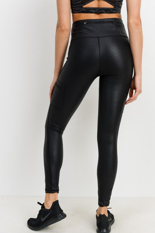 Triple Zipper Pocket Foil Leggings