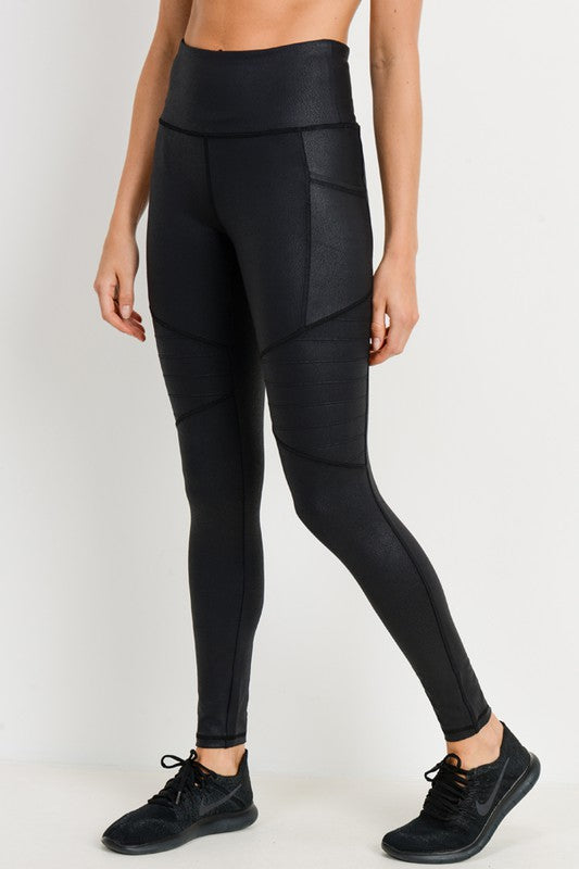 Foil Moto Leggings With Pockets