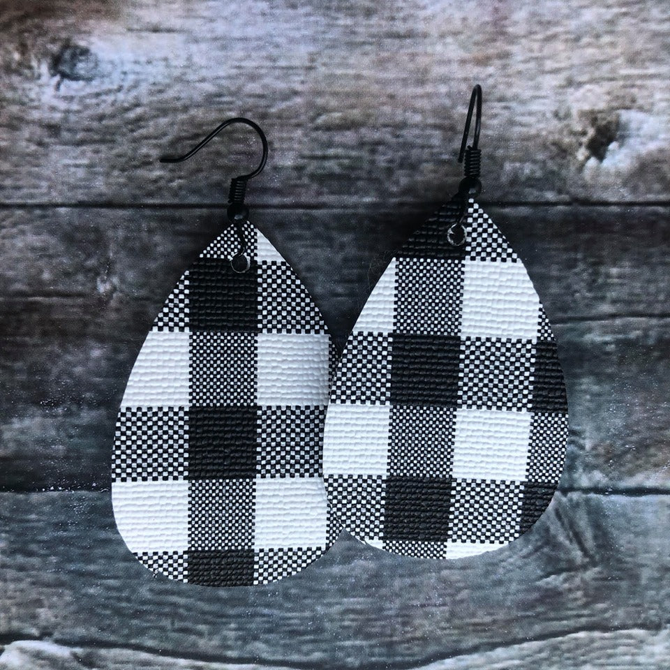 Faux Leather Drop Earrings | White Buffalo Plaid