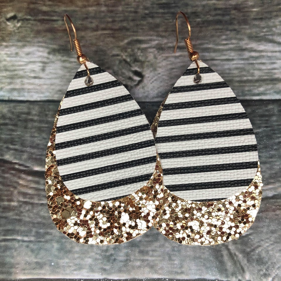 Double Faux Leather Drop Earrings | Stripe Glitter
