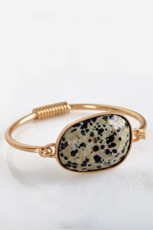 Cat Eye Stone Bracelet in Dalmation Jasper