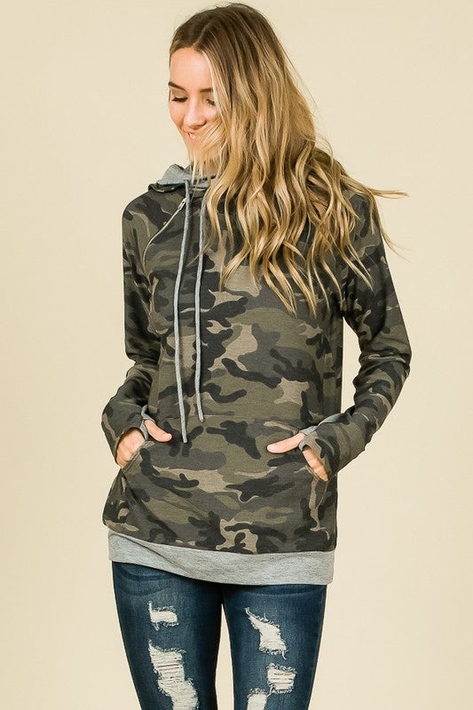 Crazy About Camo Side Zipper Hoodie