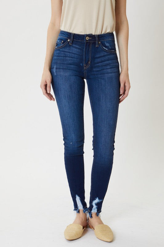 Kan Can High Rise Hem Detail Super Skinny Jeans