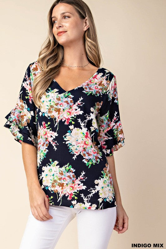 Halle Floral Tunic with Flutter Sleeve