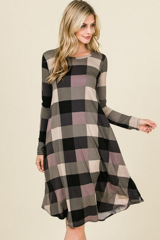 Alexa Plaid Swing Dress