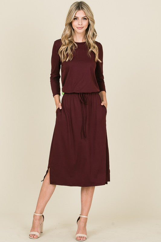 Garnet 3/4 Sleeve Midi Dress