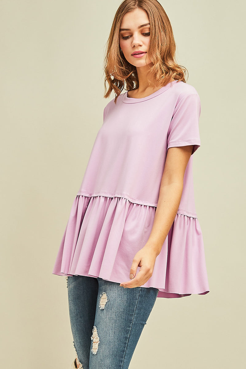 Poppy Peplum Scoop Neck Tee