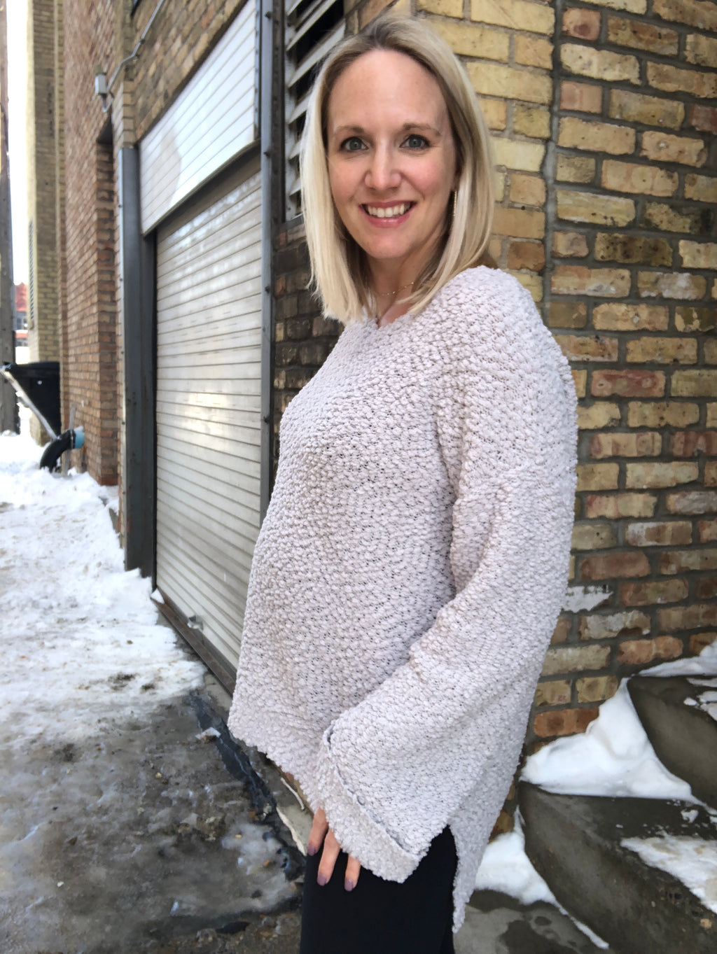 Cloud 9 V-Neck Popcorn Sweater