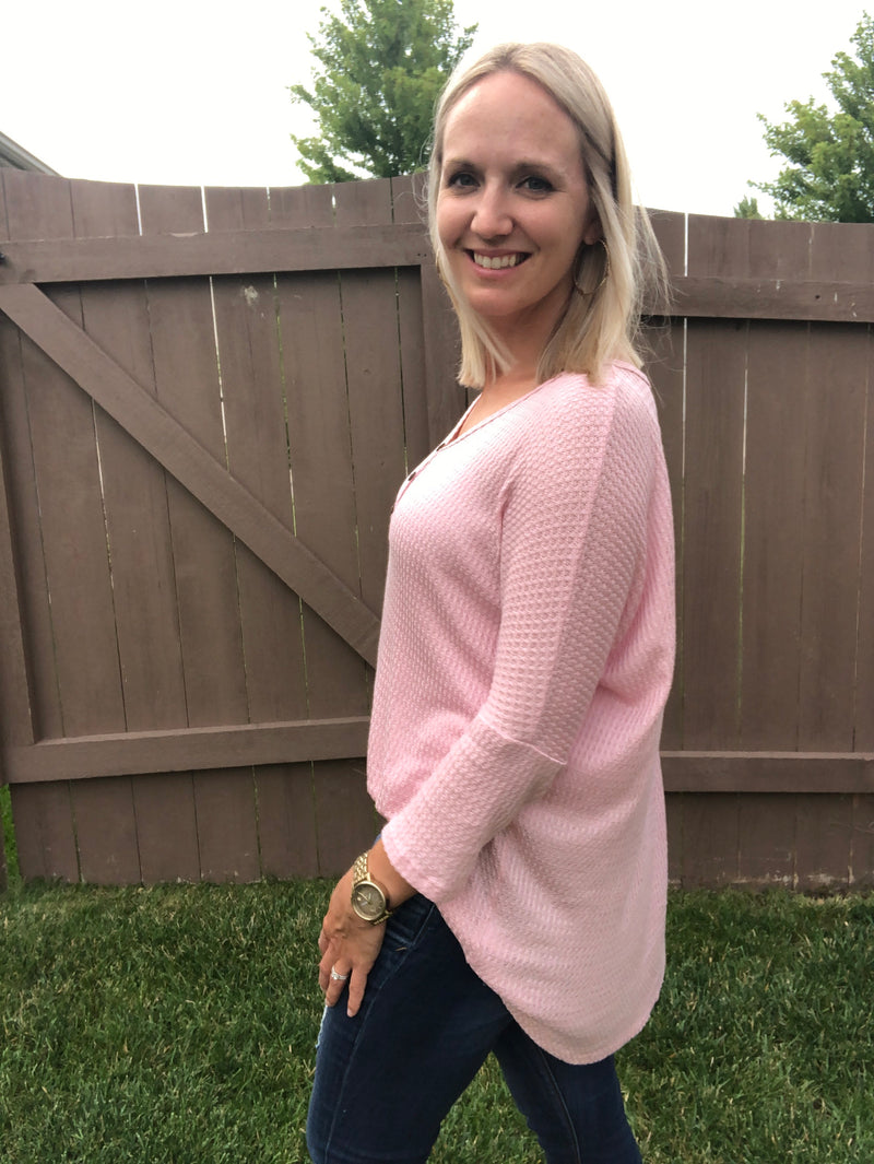 Waffle Knit V neck Tunic with Buttons