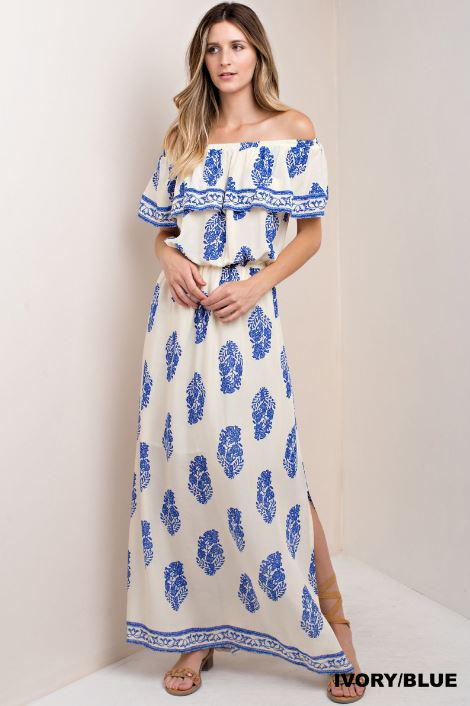 Paisley Off Shoulder Maxi