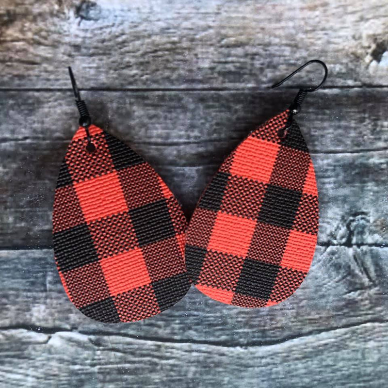 Faux Leather Drop Earrings | Red Buffalo Plaid