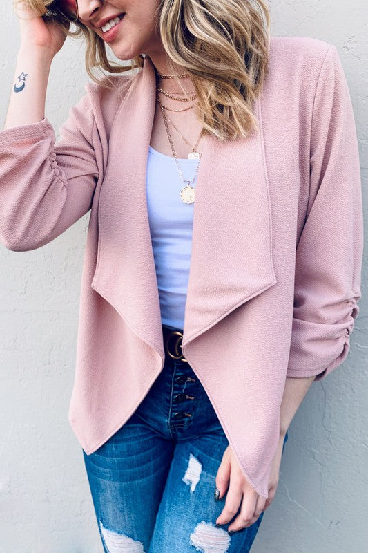 Open front Blazer with 3/4 Sleeve