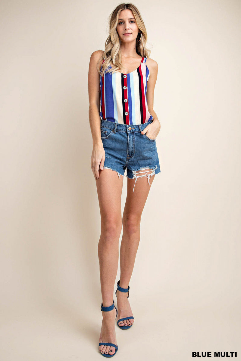 Earn Your Stripes Button Down Tank