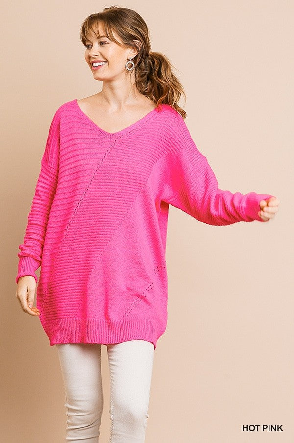 Pretty in Pink Oversized Knit Sweater