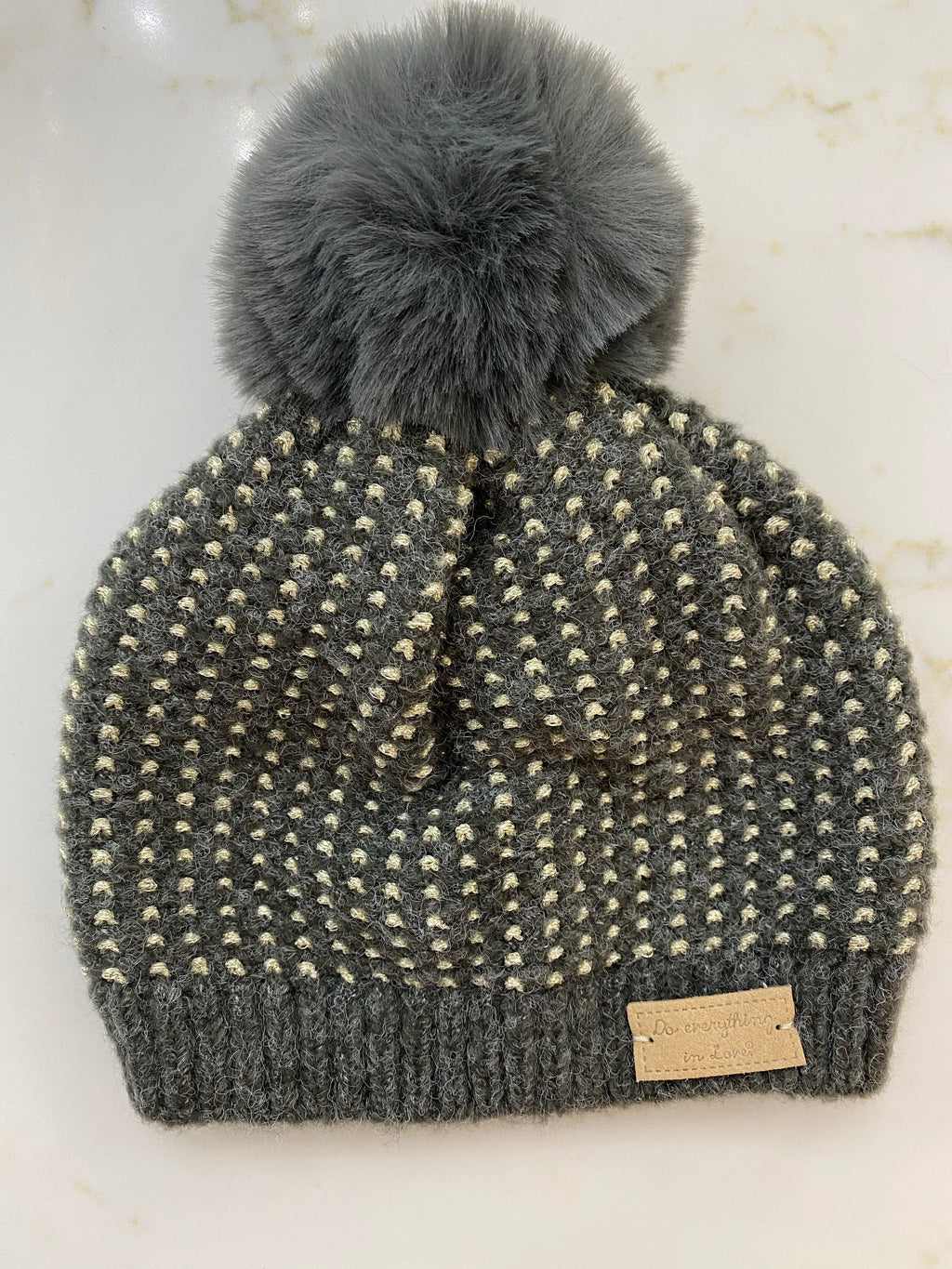 Knit Beanie With Glitter Thread Detail
