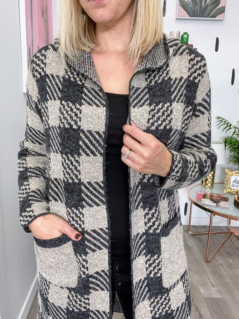 Plaid Knit Cardigan With Hood