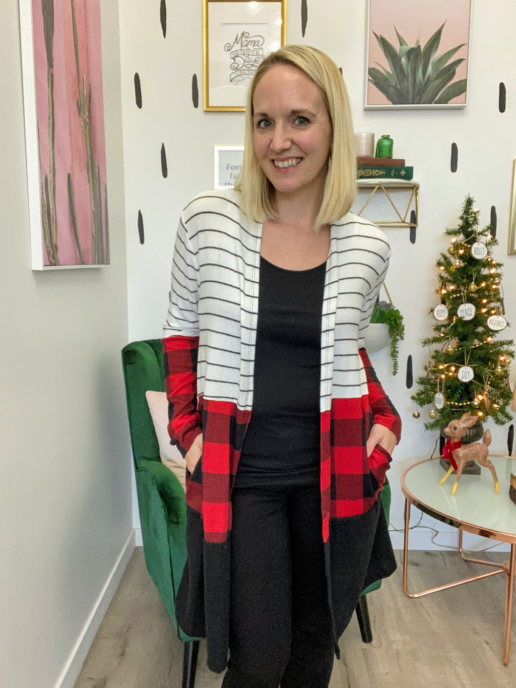 Buffalo Plaid Color Block Duster