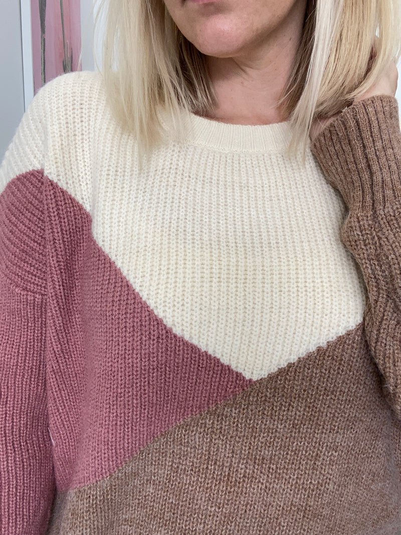 Preppy Colorblock Knit Sweater