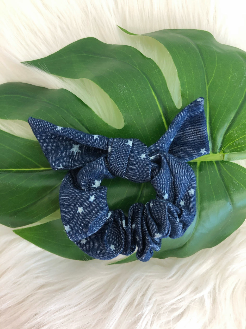 Denim Star Bow Scrunchie