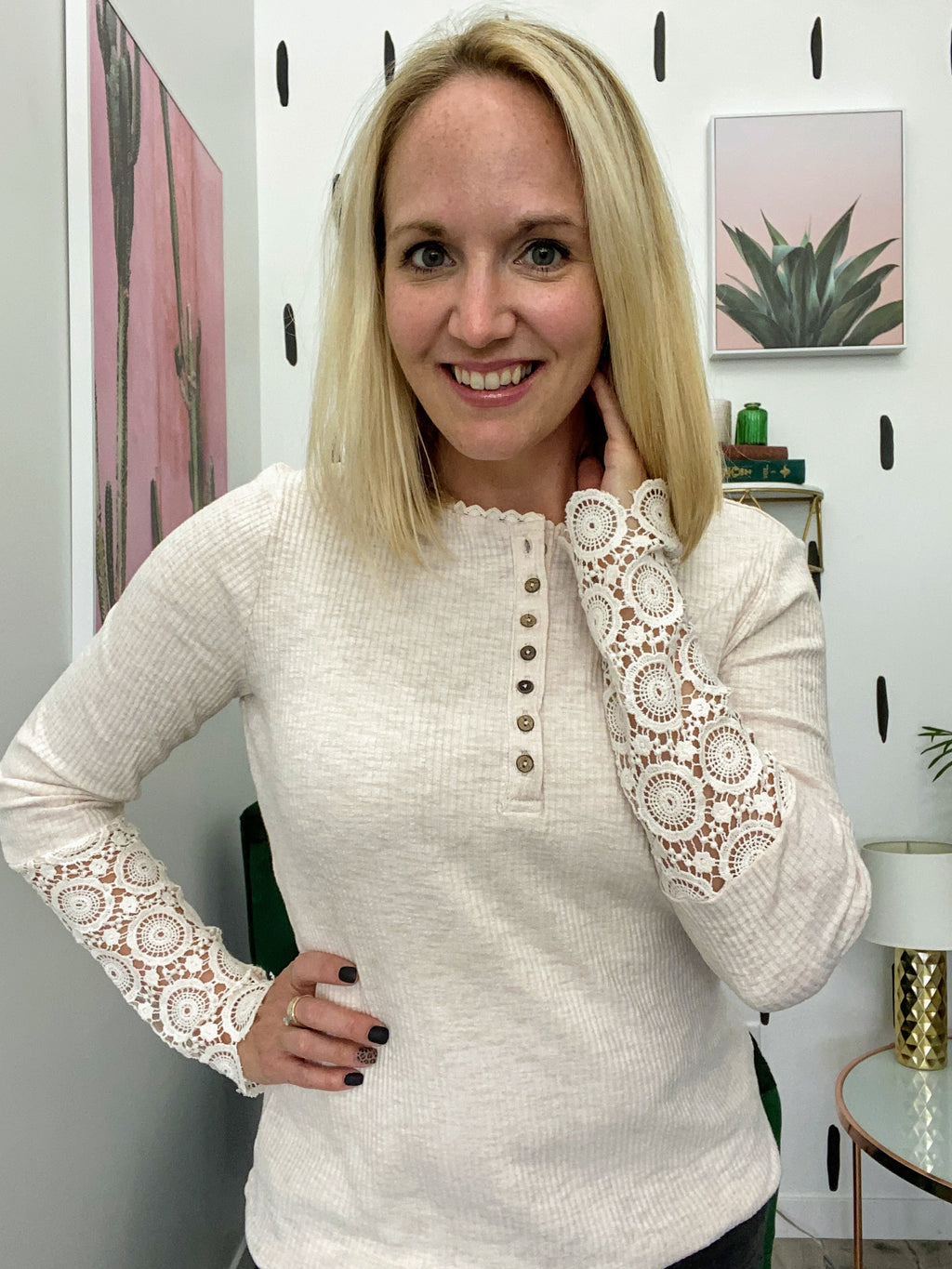 Honey Bee Crochet Sleeve Top