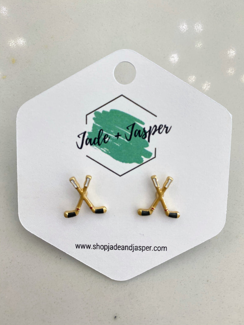Hockey Enamel Stud Earrings