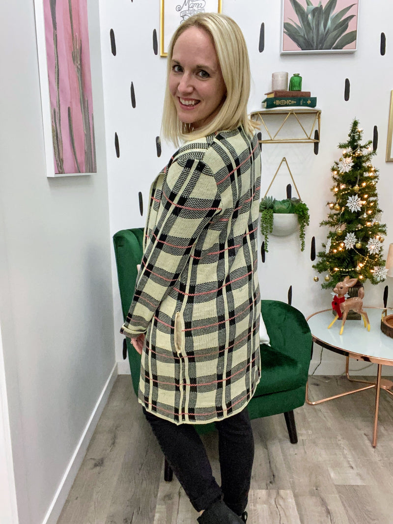 On the Town Plaid Cardigan