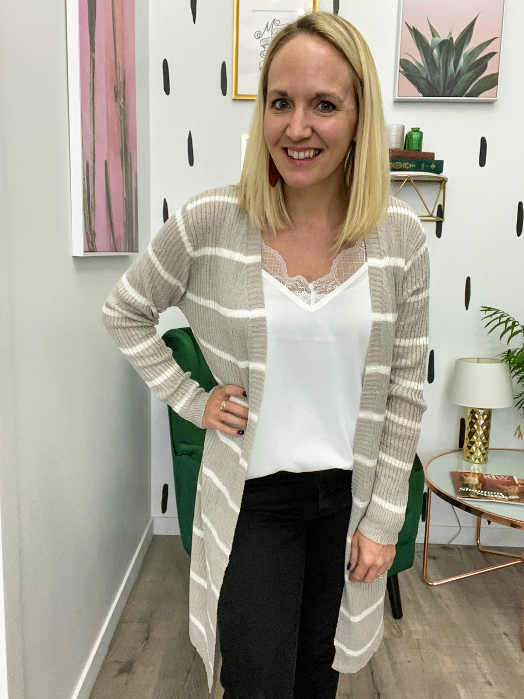 Oatmeal and White Ribbed Cardigan