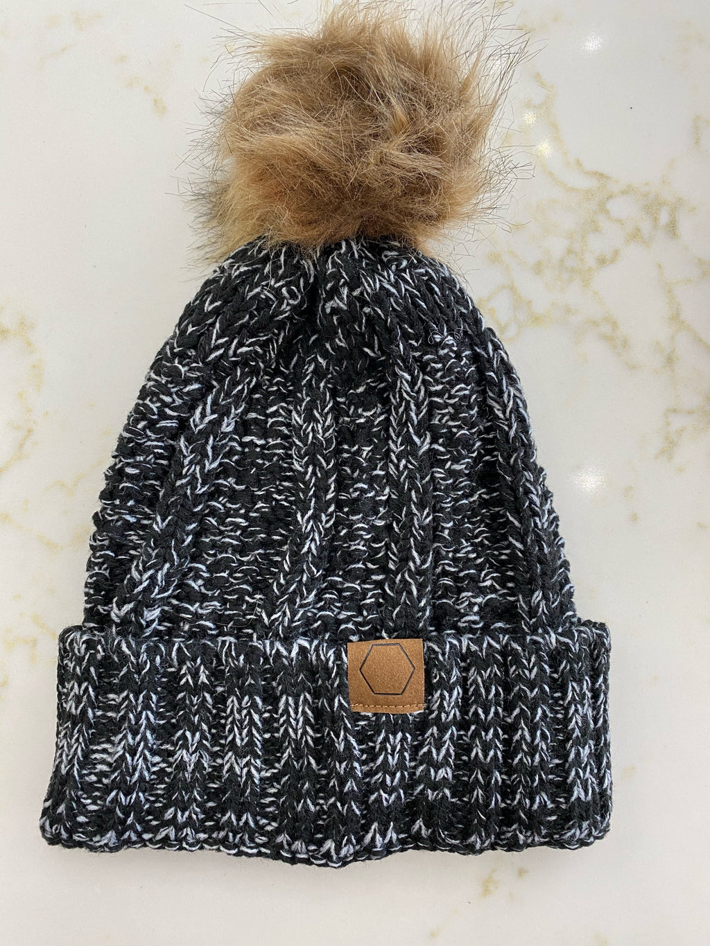Heathered Black Pom Pom Beanie