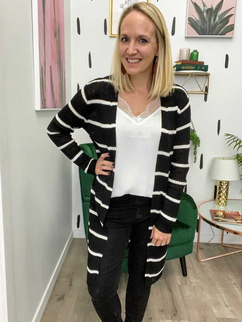 Black and White Ribbed Cardigan