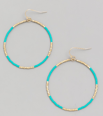 Seed Bead Hoop Drop Earrings