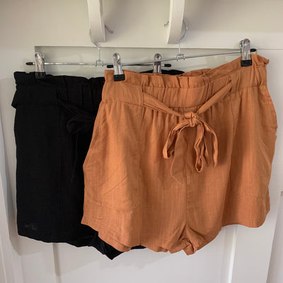 Paperbag Linen Shorts - Rust