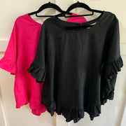 Linen Frill Top - Black or Fuchsia