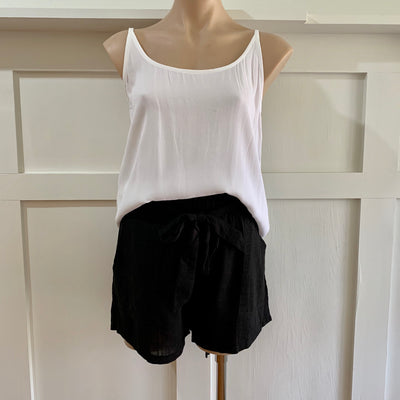 Paperbag Linen Shorts - Black