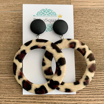 Gem Vintage Leopard Earrings - Natural