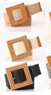 Rattan Buckle Belt - Black