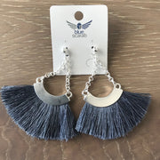 Blue/grey and silver tassel earring
