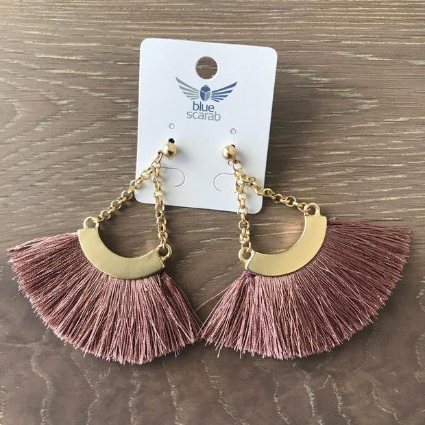 Blush and gold tassel earring