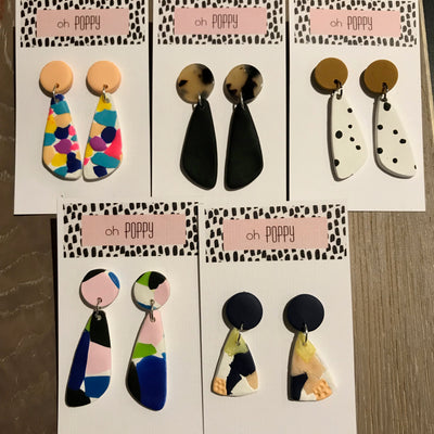 Handmade Clay Drop Earrings - Assorted Colours