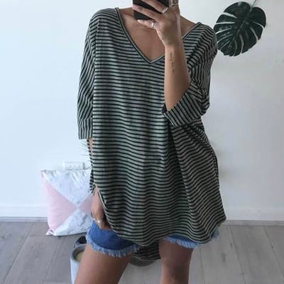 Khaki striped OSFM top - Bagira