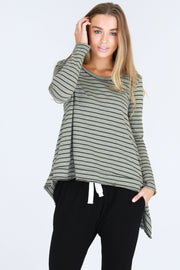 Willow Tee - Charcoal Stripe