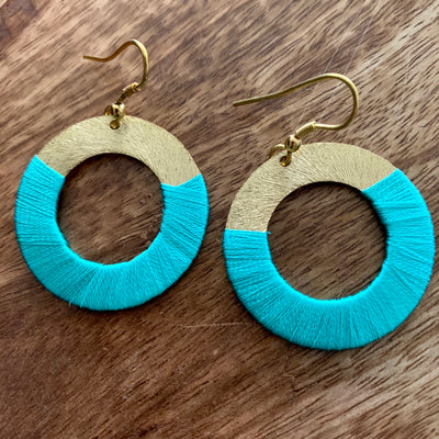 Teal Disc Earrings (Fair Trade)