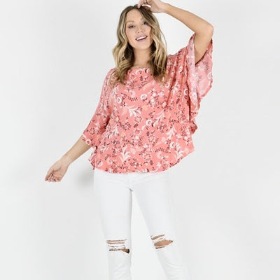 Aria Batwing Top - Coral