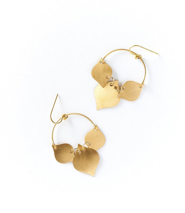 Chameli Earrings - Gold Leaf  (Fair Trade)