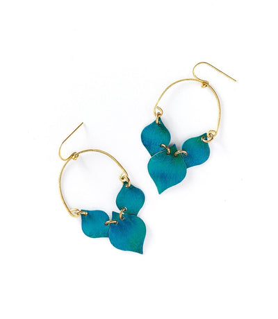 Chameli Earrings - Teal Leaf  (Fair Trade)