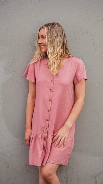 Grace Linen Dress - Deep Rose